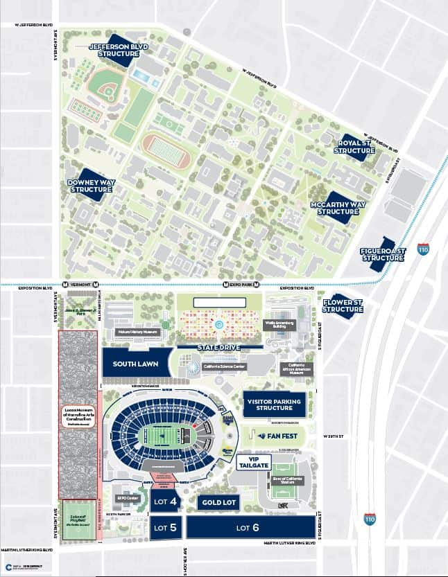 LA Rams Game Day Parking Map