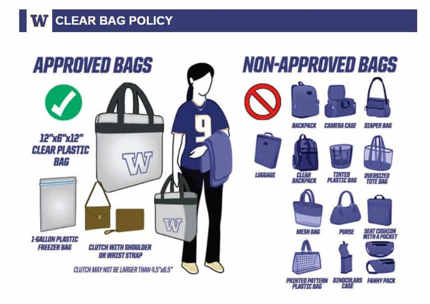 UW Clear Bag Policy for Game Day