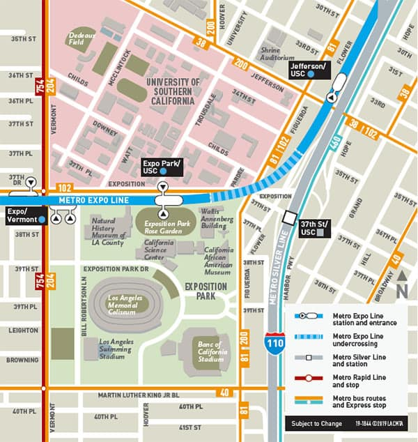 LA Coliseum Metro Map