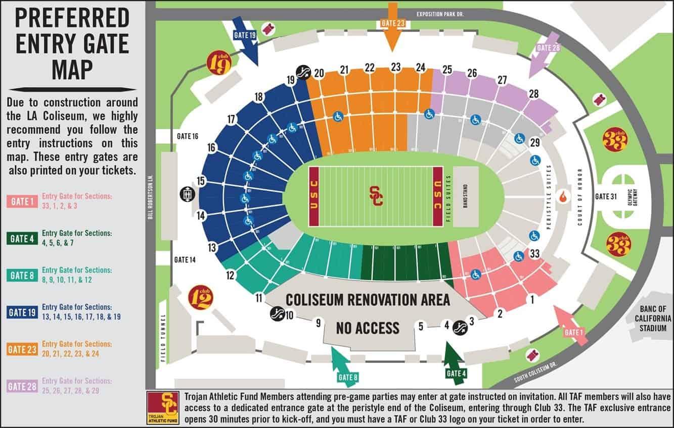 USC Coliseum Gate Entrances